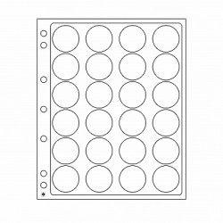 Feuilles plastique Encap à 24 cases rondes pour capsules 34 à 35 mm.