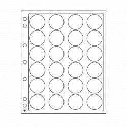 Feuilles plastique Encap à 24 cases rondes pour capsules 36 à 37 mm.