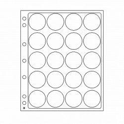 Feuilles plastique Encap à 20 cases rondes pour capsules 38 à 40 mm.