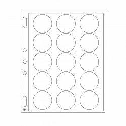 Feuilles plastique Encap à 15 cases rondes pour capsules 44 à 45 mm.