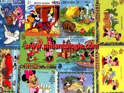 Pochettes de timbres thématiques sur les bandes dessinées, Disney.