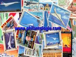 Pochettes de timbres thématique sur l'aviation sélectionnées avec soin pour compléter votre collection.